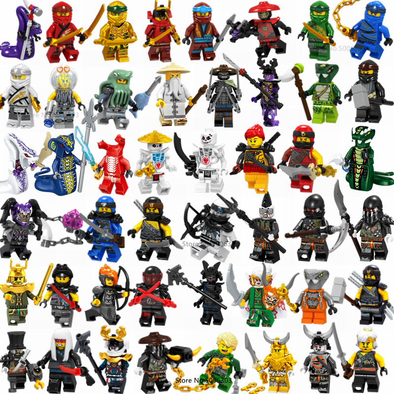 Ninja Figuras Jay Kai Cole Zane Nya Lloyd Garmadon Fangdam Wu Ninja Movie Building Blocks Action Figure Set Toys for Children