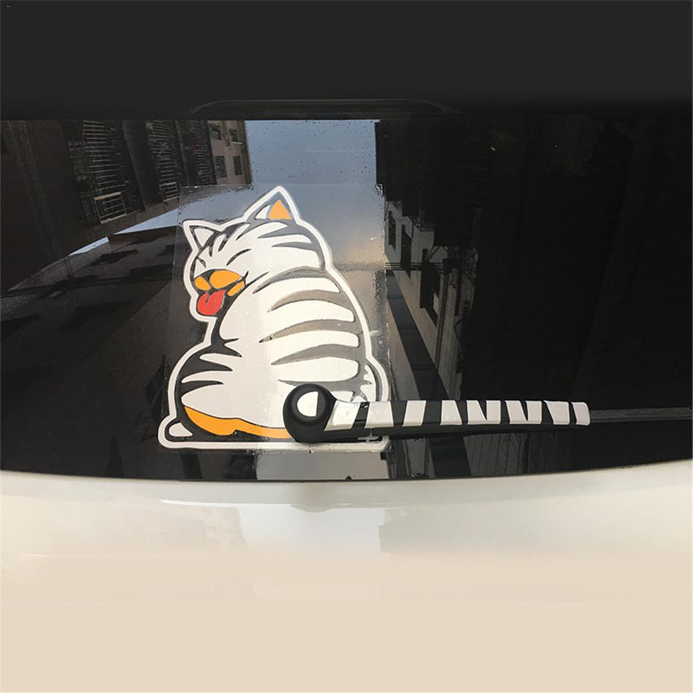 Cat Moving Tail Paws Car Stickers 3D Creative Cartoon Auto Rear Windshield Vehicle Window Wiper Decal Styling Decoration Sticker