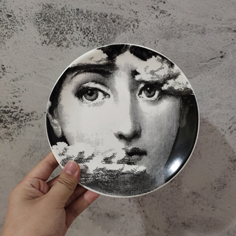 6 Inch Fornasetti Plate Round Ceramic Dish Eating Serving Cute Dish Human Face Sauce Plate Lina Female Home Decorative Plates