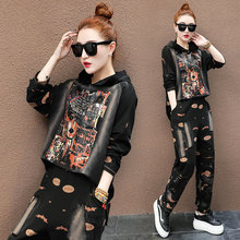 Runway TWO PIECE SET Hoodie Print Pattern Designer Tracksuit Women Hip Hop Sweatsuit Luxury Pullover Stylish Streetwear 2 pcs(China)