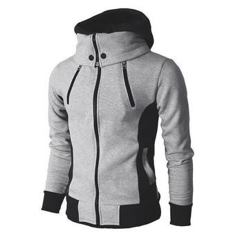 2019 Zipper Men Jackets Autumn Winter Casual Fleece Coats Bomber Jacket Scarf Collar Fashion Hooded Male Outwear Slim Fit Hoody 1