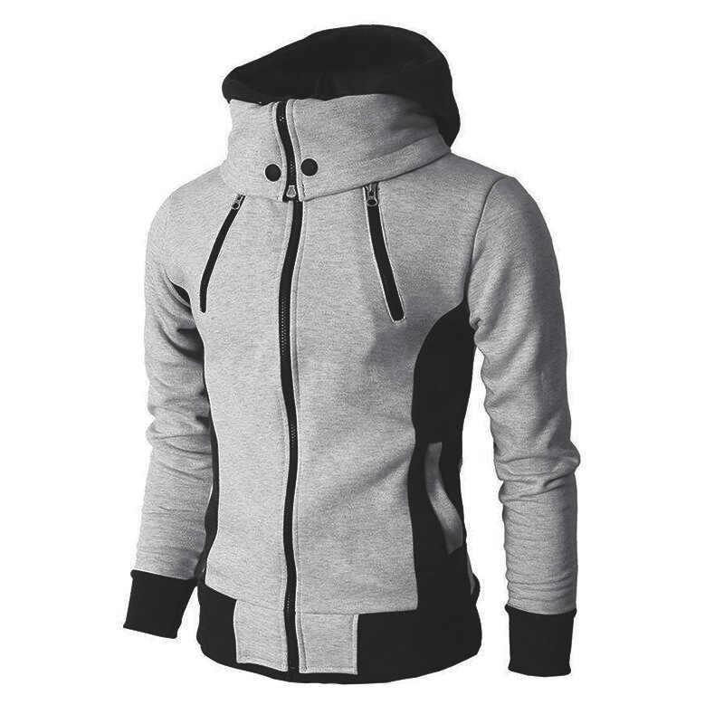 2019 Zipper Männer Jacken Herbst Winter Casual Fleece Mäntel Bomber Jacke Schal Kragen Mode Mit Kapuze Männlichen Outwear Slim Fit Hoody