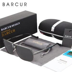 Image 4 - Barcur Aluminium Gepolariseerde Heren Zonnebril Spiegel Zonnebril Vierkante Goggle Eyewear Accessoires Voor Mannen Of Vrouwen Vrouwelijke