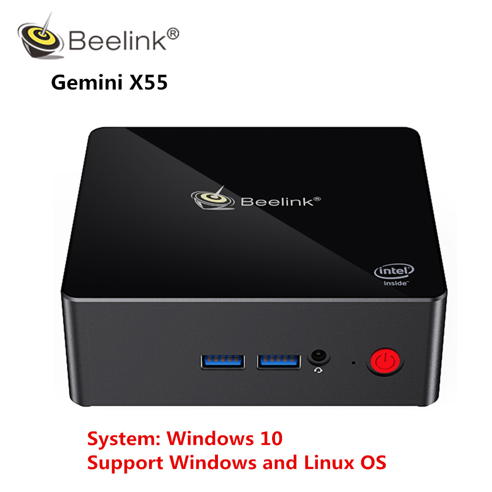 Beelink Gemini X55 Mini PC J5005 Windows 10 Mini PC 8GB LPDDR4 256/512GB 2.4GHz+5GHz WIFI 2*HDMI BT4.0 Support Windows and Linux