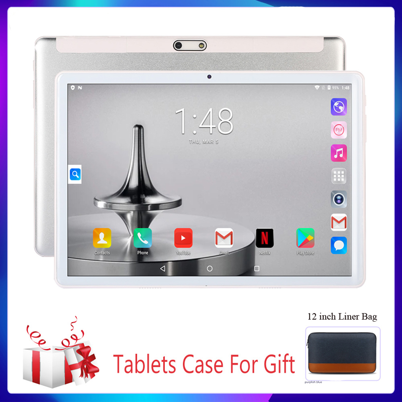 10.1 Inch Tablets System 9.0 Quad Core Support Google 3G Phone Call Bluetooth 4.0 Wi-Fi 2.5D Steel Screen Tablet PC+Keyboard