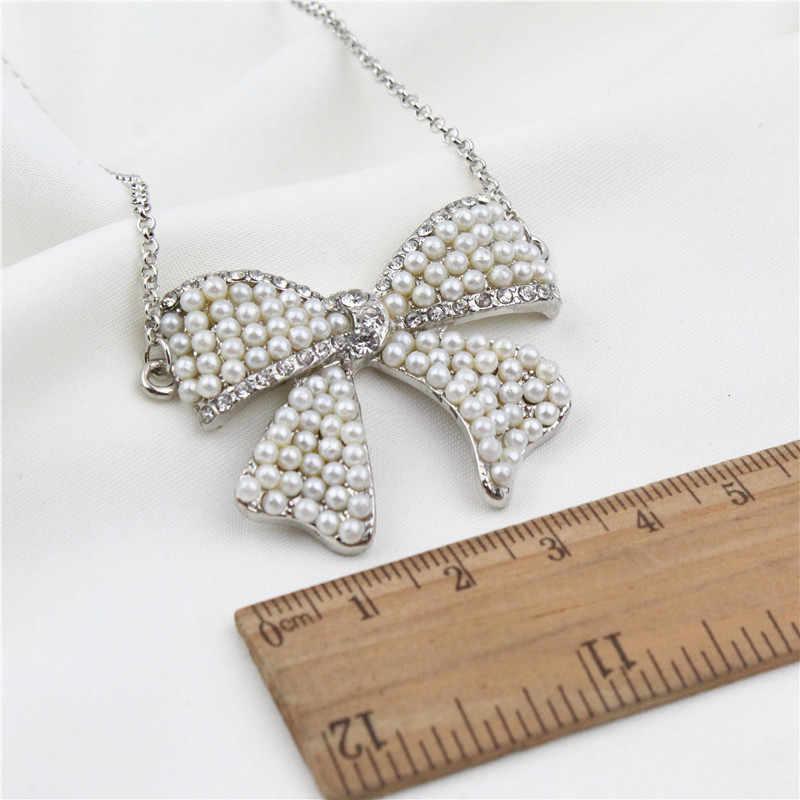V276 BIGBING תכשיטים כסף פרל קריסטל קשת תליון שרשרת אופנה שרשרת אופנה נשים שרשרת סיטונאי תכשיטים