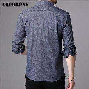 Image 3 - COODRONY Мужская рубашка из чистого хлопка, с длинным рукавом, Осень зима 2019, повседневная, деловая, 96077