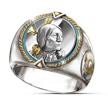 Classic Indian Chief Rings For Men Hip Hop Vintage Round Jewelry Pirate Eagle Retro Western Cowboy Punk Anillo Gift D5T317