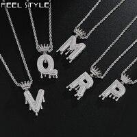 Hip Hop helado Bling de A-Z goteo circonita de corona cartas collares y colgantes cadena de la joyería de los hombres