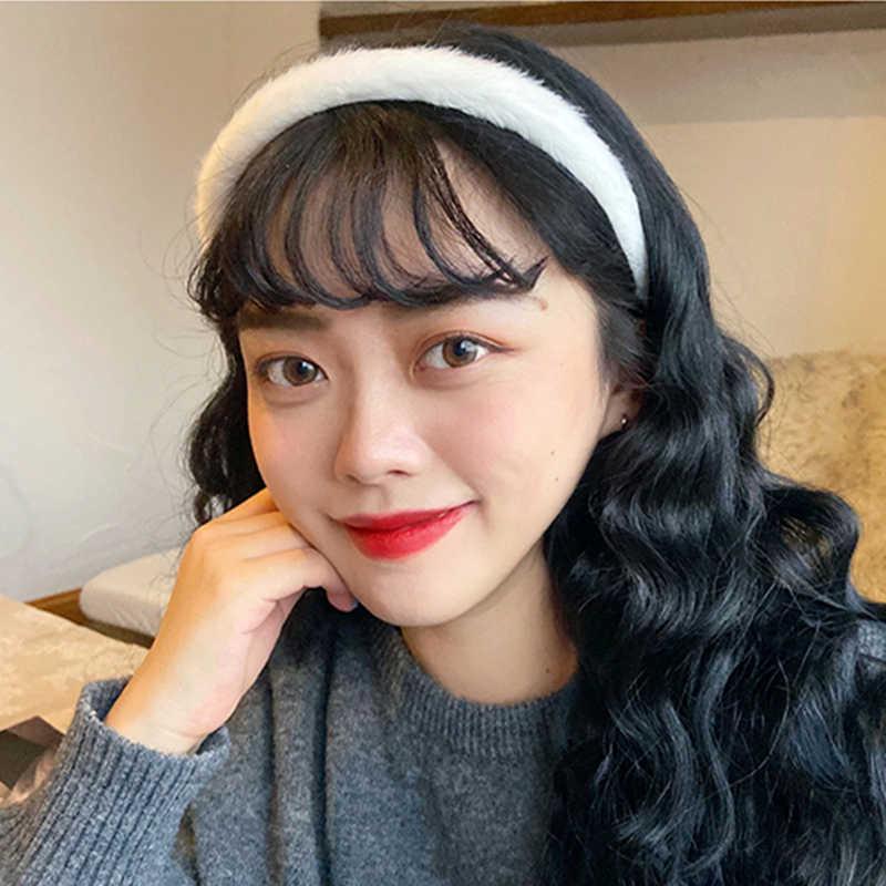 여자 가을 겨울 일요일 앙고라 원사 머리띠 탄성 헤어 후프 밴드 액세서리 소프트 솔리드 여자 헤어 밴드 머리 장식 모자를 쓰고 있죠