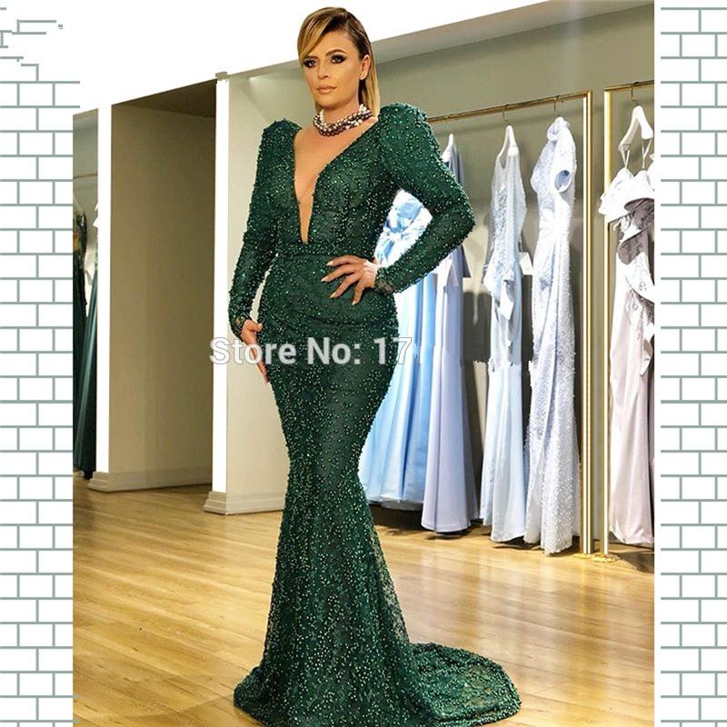 Green Muslim Evening Dresses 2019 Mermaid Deep V-neck Long Sleeves Pearls Dubai Saudi Arabic Long Formal Evening Gown