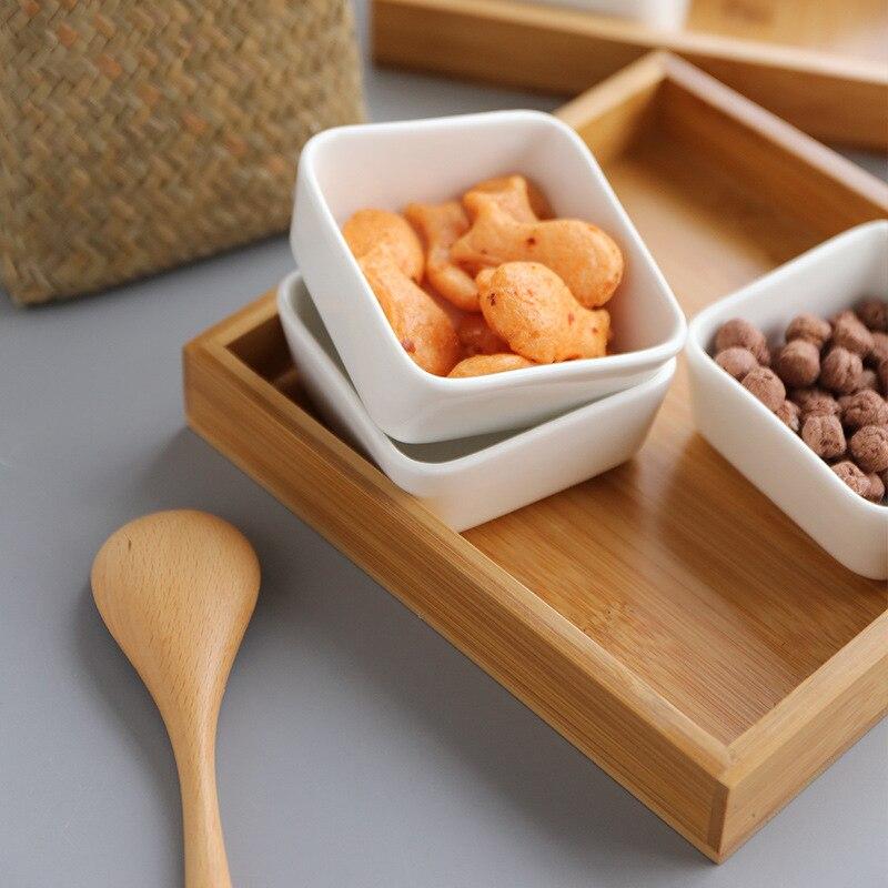 Многофункциональная керамическая коробка бамбуковые поддоны для хранения домашней кухни еда десерт чайная тарелка гайка закуска Конфета Органайзер украшение поднос для сервировки-3