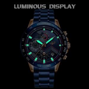 Image 2 - 2019 LIGE New Blue Fashion Business Clock Mens Watches Top Brand Luxury All Steel Waterproof Quartz Gold Watch Relogio Masculino