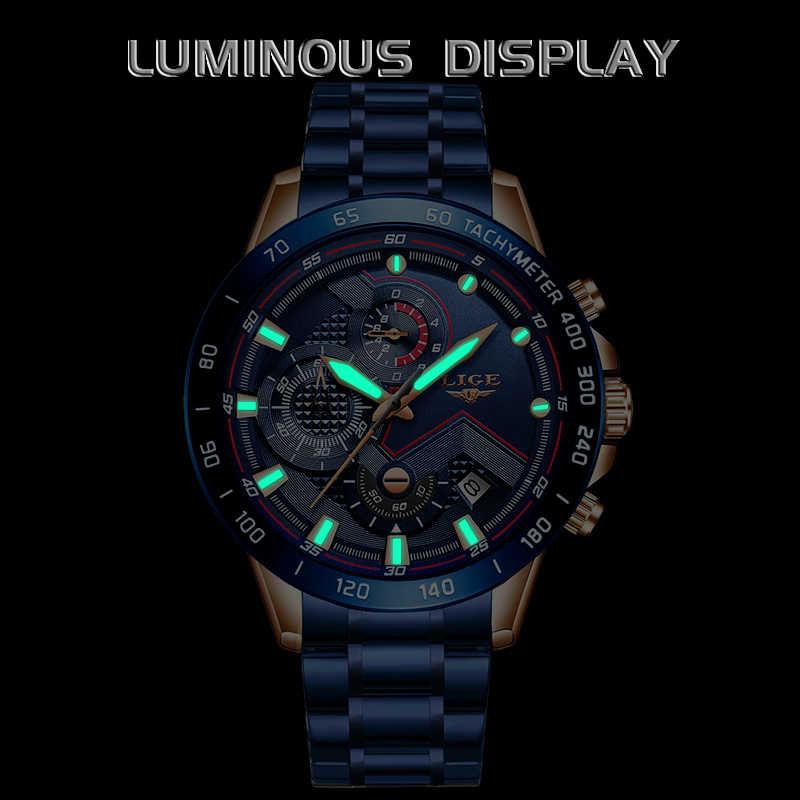 2021 LIGE yeni mavi moda İş saat erkek saatler Top marka lüks tüm çelik su geçirmez kuvars altın İzle Relogio Masculino