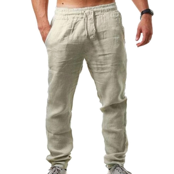 VICABO Pants for Men Solid Casual Sports Pants Cotton Linen Elastic Waist Sports Pants Mens Clothing pantalons pour hommes#w