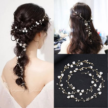 Fashion Bridal Hair Rattan Headdress Handmade Wedding Crown Flower Pearl Hairpin Female Western Wedding Accessories