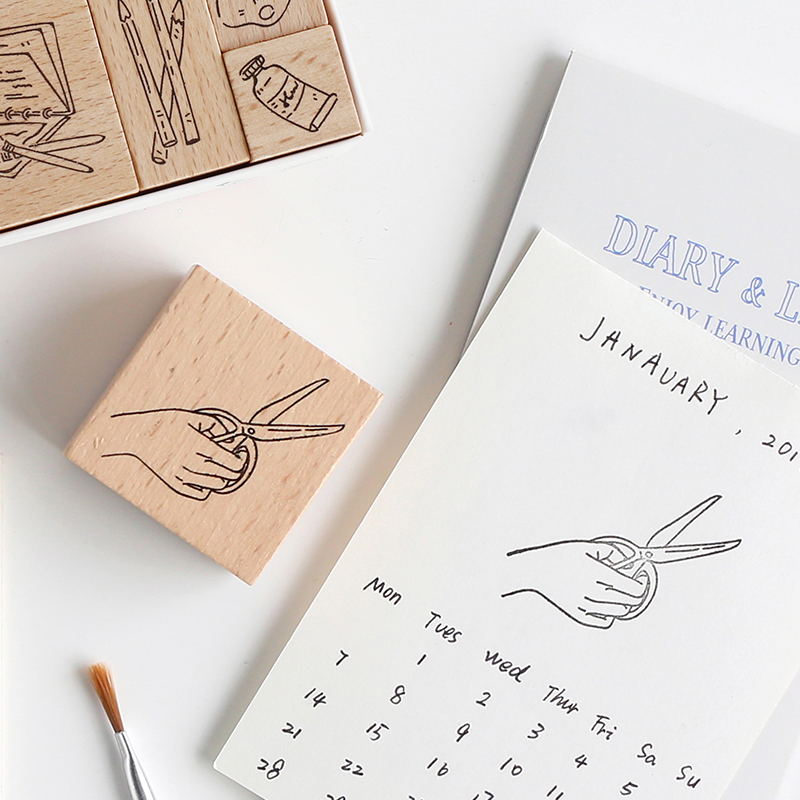 JIANWU 1pc 2019new Art Life DIY Flower Wood Rubber Stamps Diary Graffiti Decoration Seal Cute Bullet Journal Parts