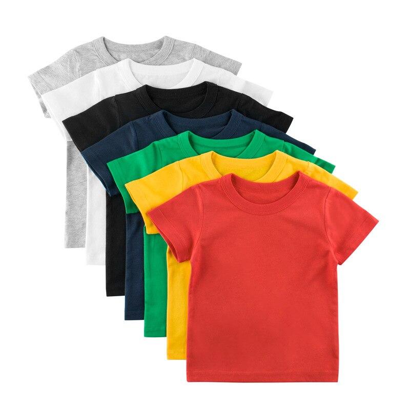 QNPQYX New Summer Kids T-shirt Tops Baby Boy Cotton Short Sleeve Tops Girls Children Cartoon Basic Color Clothes Boys Girls Tees