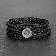 Bracelet en Pierre de lave 4mm pour hommes, mode européenne et américaine, Pierre Naturelle, 3 brins de perles, Bijoux en Cuir