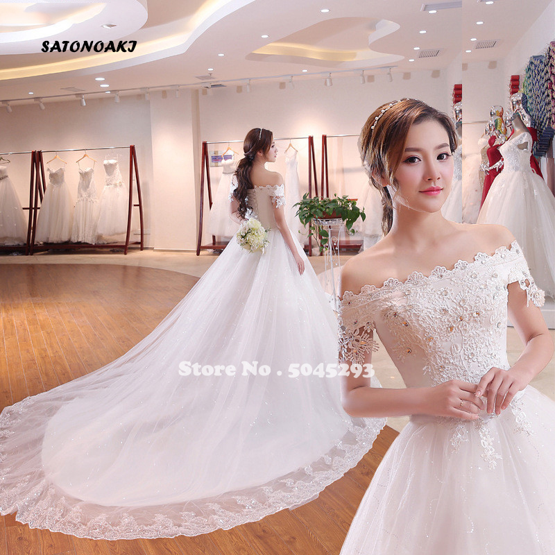SATONOAKI 2020 Real Image Elegant Off The Shoulder Appliqued Lace Sleeveless Off The Shoulder Puffy Ball Gown Wedding Dresses
