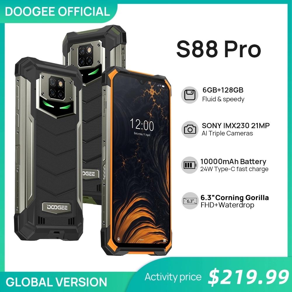 Смартфон Doogee S88 Pro прочный смартфон 6+128 ГБ 10000 мА ч супер Батарея смартфон Helio P70, IP68/IP69K мобильный телефон Android 10
