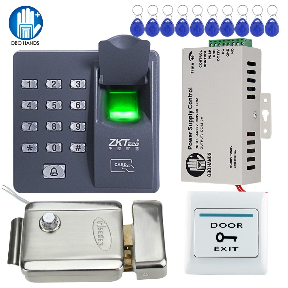 Full Biometric Access Control Kits System Fingerprint Keypad Electric Door Lock DC12V Power Supply Exit Button with RFID Keyfobs