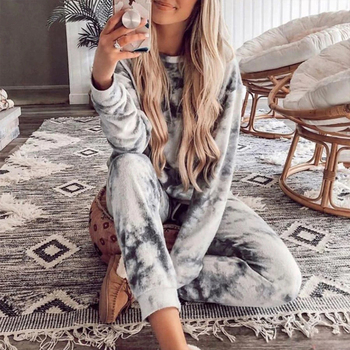 women outfit 2019 two piece set clothes top and pants spring autumn ladies tracksuits korean style plus size fashion lounge wear Tie Dye Pajamas Lounge Wear Two Piece Set Women Tracksuits Casual Outfits Long Sleeve Top +Pants 2 Pcs Home Clothes Sweat Suits