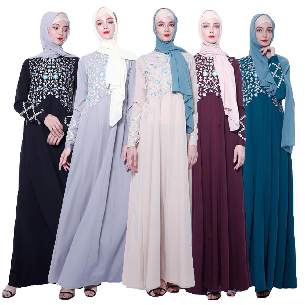 Broderie de luxe Abaya dubaï Maxi Robe Caftan musulman femmes à manches longues soirée Cocktail Jilbab Caftan Robe islamique Robe turque
