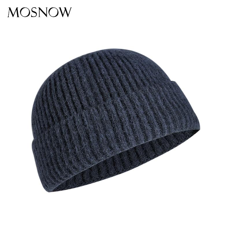 Winter Hat Skullcap Docker-Cap Knitted Beanie Brimless-Cap Warm Solid-Color Men Unisex