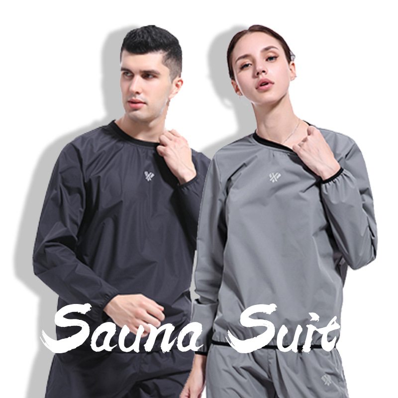 2020 New Sauna Suit Mens Womens Gym Clothing Set O-Neck Pullover Sportswear Running Fitness Weight Loss Sweating Sports Suit