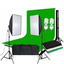 Zuochenフォトスタジオソフトボックス連続照明キット背景ソフトボックスライトスタンド + 3 背景 + 2*2 メートル背景サポートキット