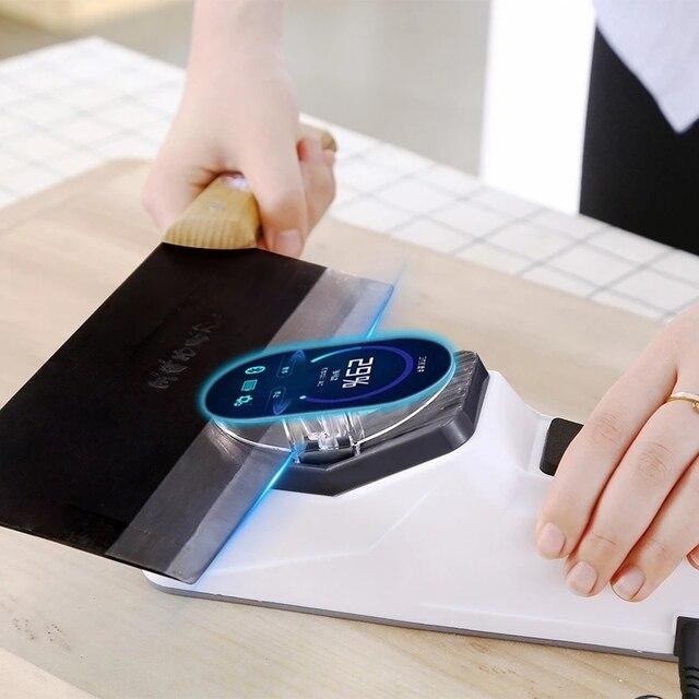 Afilador de cuchillos eléctrico USB, herramienta ajustable para cuchillos de cocina, tijeras, afilador blanco, hoja de molienda media y fina 1