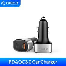 Автомобильное зарядное устройство ORICO Quick charger 3,0, USB, светодиодный дисплей, PD мобильный телефон, зарядное устройство 36 Вт, макс. двойной выход, мобильный телефон