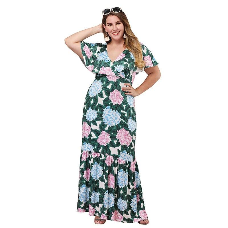 2019 Woman Dress Ruffled Sleeve V neck Pleated Bohemian Dress Temperament Large Size Women 39 s Clothing in Dresses from Women 39 s Clothing