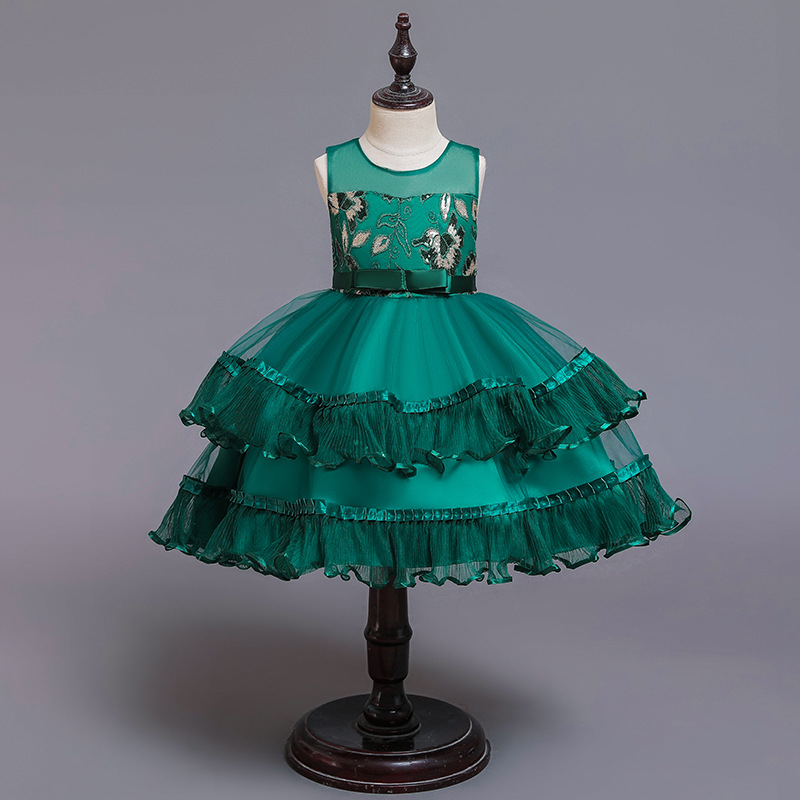 Princess Dress Girls Formal One-piece Dress Gauze Girl Dress Piano Performance Wear