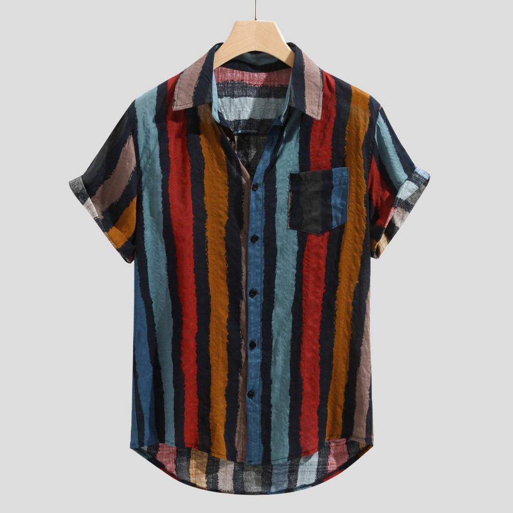 מזדמן פס צווארון חולצה גברים כותנה מעצב מותג Slim Fit חולצות גבר קצר שרוול אדום חולצות גבר קיץ גברים של בגדי S64
