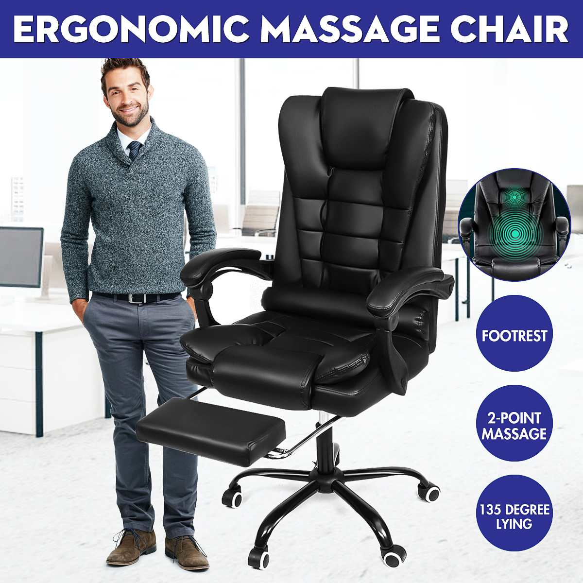 90°~135° Lying Massage Chair Household High Quality Office Gaming Computer Chair Ergonomic Reclining Gaming Chair Footrest