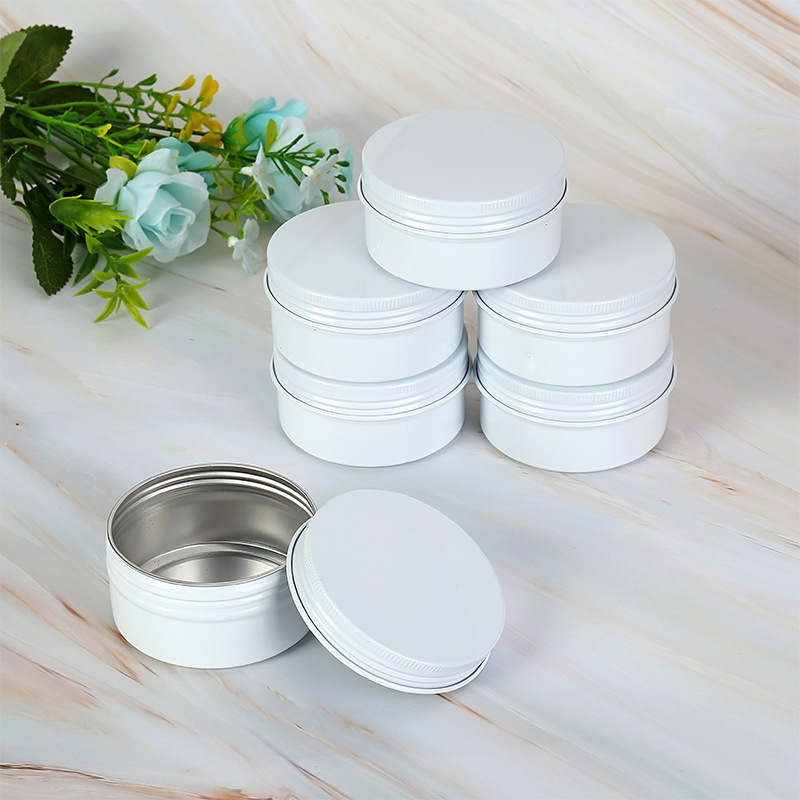 10g 15g 50g 60g Empty White Aluminum Cream Jar Pot Nail Art Makeup Lip Gloss Cosmetic DIY Travel Metal Tea Candy Tins Containers