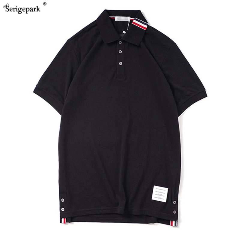 Button-shaped polo shirt for men summer high-quality webbing Korean style men's T-shirt pure color simple and breathable