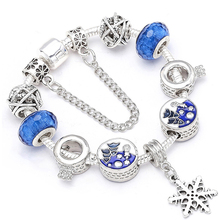 Luxury Crystal Snowflake Pendant Crown Charm Bracelet For Women Blue Glass Bead Bracelets & Bangles Fashion Jewelry Fit Pulseras crystal bead and crown bracelet safety chain luxury strand bracelet
