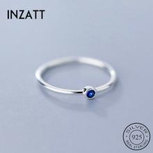 INZATT Настоящее серебро 925 проба Синий Циркон круглое кольцо для модных женщин милые ювелирные изделия минималистичные аксессуары подарок