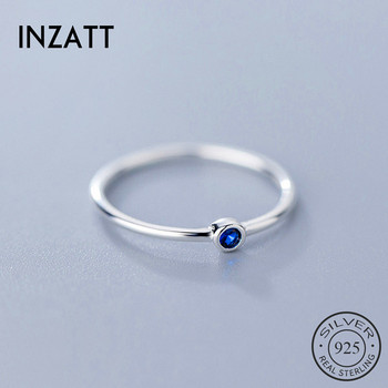 INZATT Real 925 Sterling Silver Blue Zircon Round Ring For Fashion Women Cute Fine Jewelry 2019 Minimalist Accessories Gift
