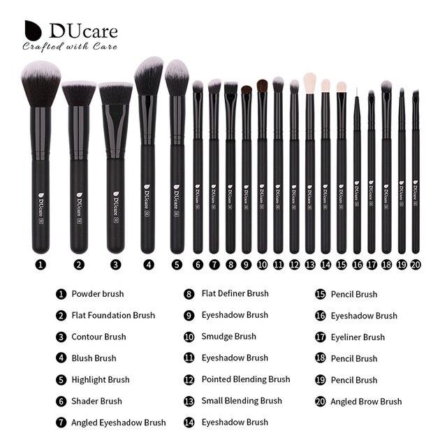 DUcare 20PCS  Professional Make up Brushes Powder Foundation Eyeshadow MakeUp Brushes Set Natural Goat Hair Cosmetics Brush Set 2