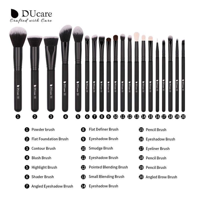 Ducare 20 pçs profissional compõem escovas pó fundação sombra maquiagem pincéis conjunto de cabelo de cabra natural cosméticos escova conjunto