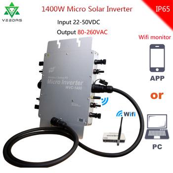 WVC 1400W bezprzewodowy MPPT Micro Solar na falownik sieciowy konwerter 20-50VDC 220VAC 110VAC siatka wiązana czysta fala sinusoidalna przetwornica napięcia tanie i dobre opinie Dc ac falowników 370mm*300mm*41 6mm WVC-1400 50Hz 60Hz Pojedyncze 1000kw 2 83kgs Vmp 34V Voc 50V 22-50V 98 99 5