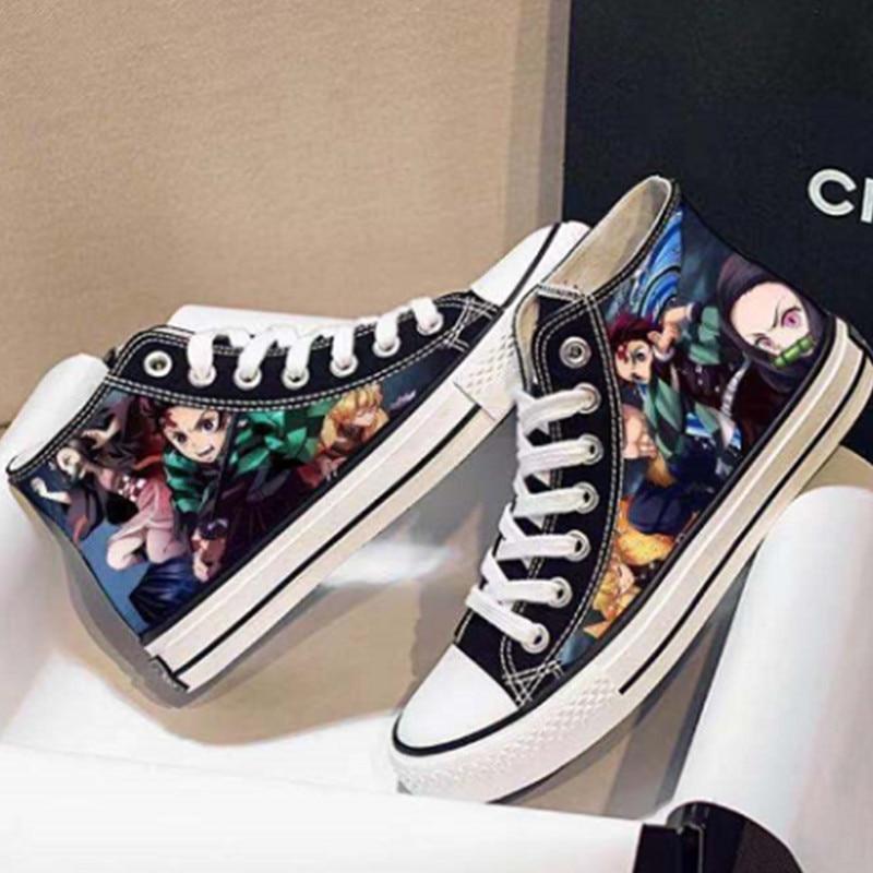 Anime Demonslay Men Casual Canvas Shoes Cheap Tanjirou Nezuko Zenitsu Kyoujurou Sneakers Vulcanize Streetwear Male Dropshipping