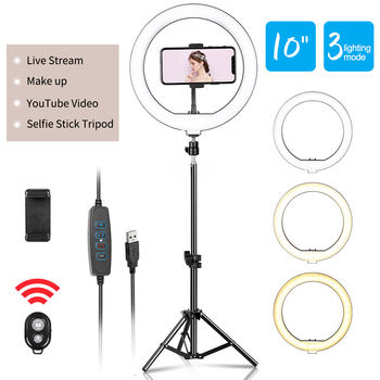 10inch LED Ring Light Photography Selfie Lighting with Tripod Stand for Smartphone Youtube Makeup Video Studio Lamp - discount item  30% OFF Camera & Photo