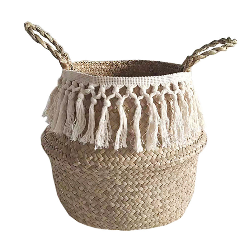Seagrass Storage Basket For Decoration Laundry Basket Woven Basket Gift Handmade Tassel Vase Garden Flower Pot With Handle