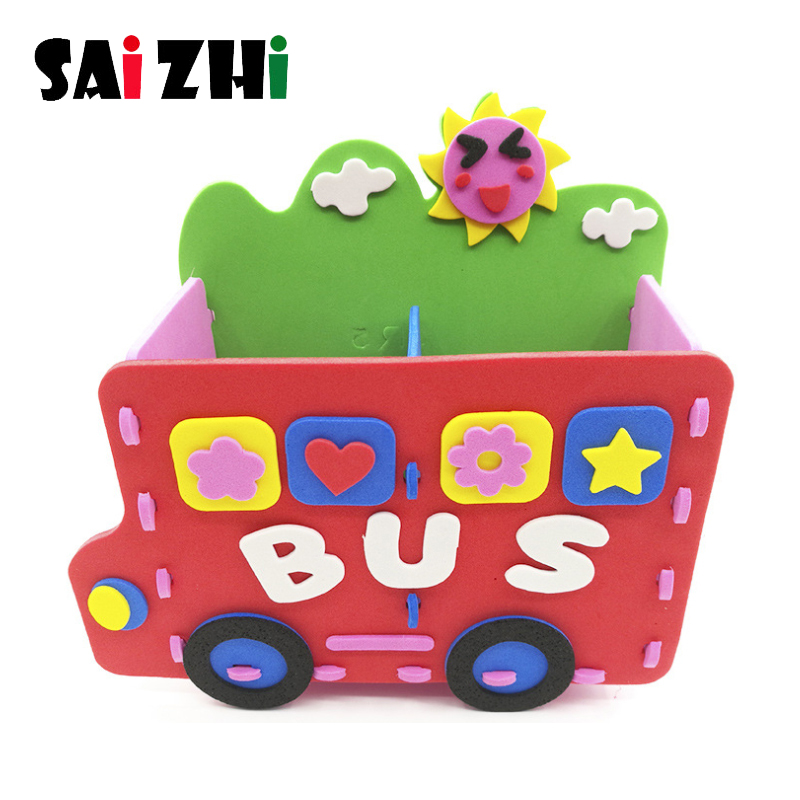Saizhi 3D Pencil Pen Holder Creative Manual DIY Puzzles Children EVA Foam Material Package Set Gifts Brain Training Toys Gifts