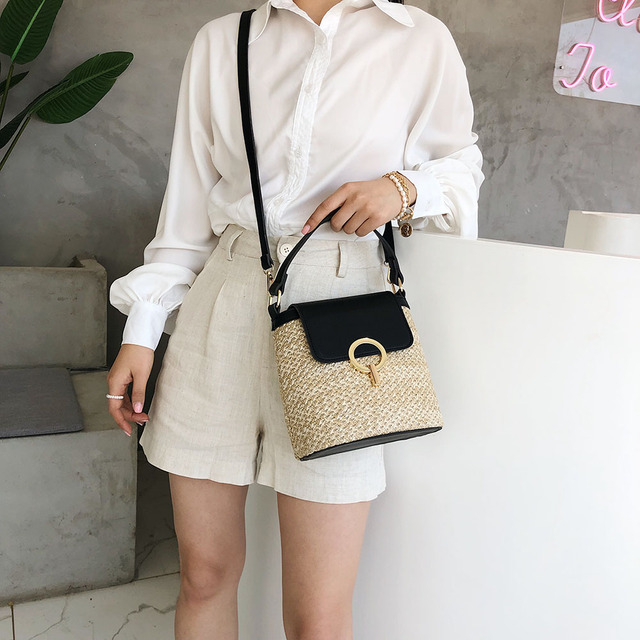 Small Straw Bucket Bags For Women 2020 Summer collection
